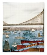 Brooklyn Bridge, 1872 Fleece Blanket