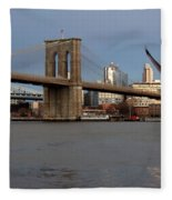 Brooklyn Bridge And Bird In Flight Fleece Blanket