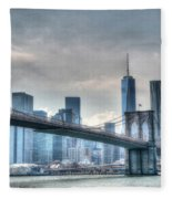 Brooklyn Bridge And The Lower Manhattan Financial District Fleece Blanket