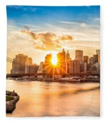 Brooklyn Bridge And The Lower Manhattan Skyline At Sunset Fleece Blanket