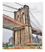 Brooklyn Bridge Close Up Fleece Blanket