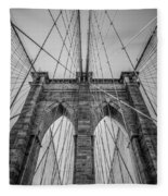 Brooklyn Bridge Goes Up Fleece Blanket