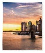 Brooklyn Bridge Panorama Fleece Blanket