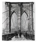 Brooklyn Bridge Promenade 1898 - New York Fleece Blanket