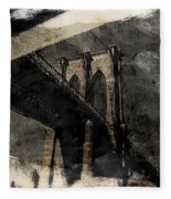 Brooklyn Bridge Reflection Abstract Fleece Blanket