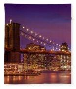 Brooklyn Bridge Sunset - Panorama Fleece Blanket