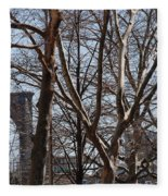 Brooklyn Bridge Thru The Trees Fleece Blanket