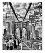 Brooklyn Bridge Walkway   B  And  W Fleece Blanket