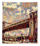 Brooklyn Bridge Watercolor Fleece Blanket