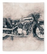 Brough Superior Ss100 - 1924 - Motorcycle Poster - Automotive Art Fleece Blanket