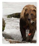 Brown Bear Eating Salmon Tail Beside Rocks Fleece Blanket