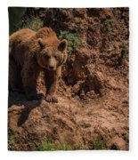 Brown Bear Watches From Steep Rocky Outcrop Fleece Blanket