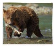 Brown Bear With Salmon Fleece Blanket