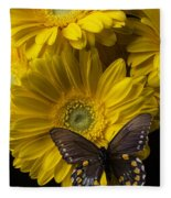 Brown Butterfly On Yellow Daisies  Fleece Blanket