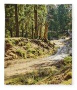 Brown Dirty Road Under Spring Sun Rays Fleece Blanket