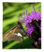 Brown Moth On Pink Fleece Blanket