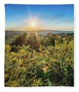 Brown Mountain Sunrise  Overlook Of Route 181 North Carolina Fleece Blanket by Alex Grichenko