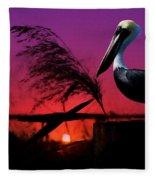 Brown Pelican At Sunset - Painted Fleece Blanket