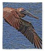 Brown Pelican Flyby Fleece Blanket