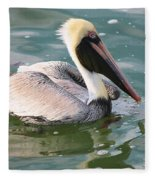 Brown Pelican In The Bay Fleece Blanket