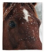 Brown Snow Horse Fleece Blanket