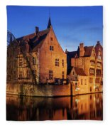 Bruges Architecture At Blue Hour Fleece Blanket by Barry O Carroll
