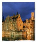 Bruges At Night, Belgium Fleece Blanket