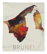 Brunei Watercolor Map Fleece Blanket