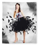 Brunette Pin-up Woman In Gorgeous Feather Skirt Fleece Blanket