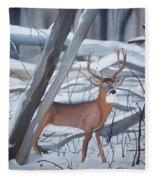 Buck In The Snow Fleece Blanket