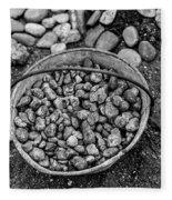 Bucket Of Rocks In Black And White Fleece Blanket
