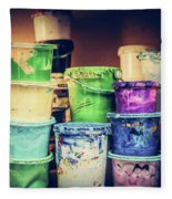 Buckets Of Liquid Paint Standing In A Workshop. Fleece Blanket