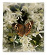Buckeye On Wildflowers Fleece Blanket
