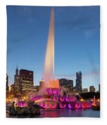 Buckingham Fountain At Dusk II Fleece Blanket