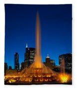 Buckingham Fountain Nightlight Chicago Fleece Blanket