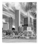 Buckingham Fountain Skyscrapers Black And White Fleece Blanket