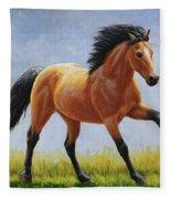 Buckskin Horse - Morning Run Fleece Blanket