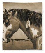 Buckskin War Horse In Sepia Fleece Blanket