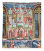 Bucovina Monastery Fresco Fleece Blanket