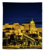Buda Castle At Night Fleece Blanket