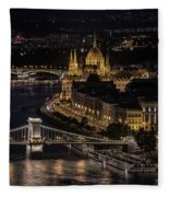 Budapest View At Night Fleece Blanket
