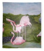 Buddah And The Flamingos Fleece Blanket