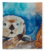 Buddha And The Divine Otter No. 1374 Fleece Blanket