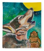 Buddha And The Divine Wolf No. 1370 Fleece Blanket