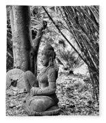 Buddha Black White Liberia Parish  Fleece Blanket