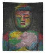 Buddha Encaustic Painting Fleece Blanket