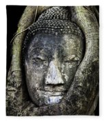 Buddha Head In Banyan Tree Fleece Blanket
