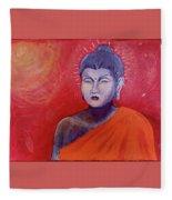 Buddha In Red Fleece Blanket
