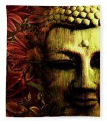 Buddha In Red Chrysanthemums Fleece Blanket