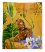 Buddha Sculp Fleece Blanket